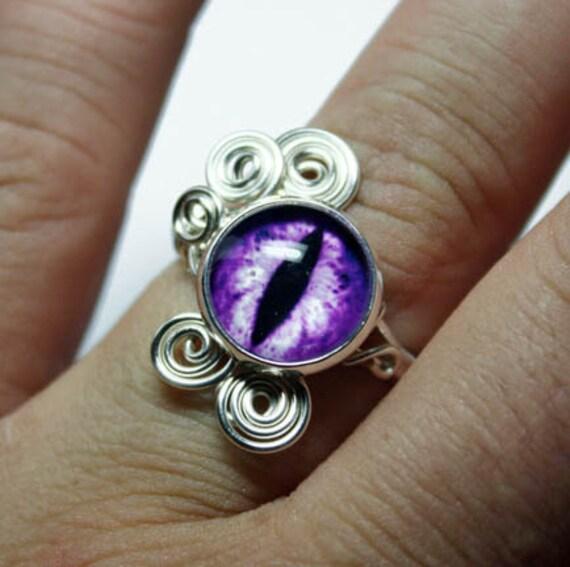 Adjustable Steampunk Wire Wrap Taxidermy Purple Violet Evil Dragon Eye Ring