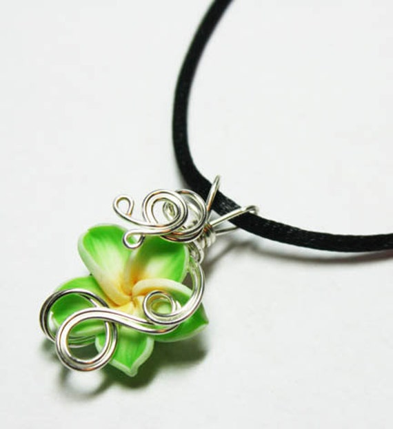 Perfume Pendant - PREMADE - Aromatherapy Wire Wrapped Lime Polymer Clay Tropical Plumeria Flower