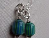 earrings RETRO BEACH vintage blue and green stripes lucite & sterling silver