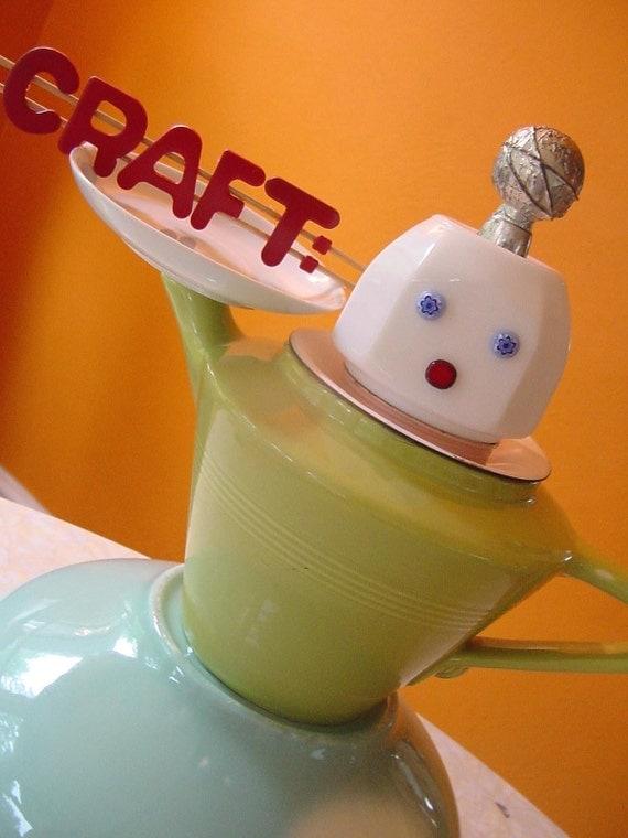 BETTY the RETRO ROBOT WAITRESS serving up CRAFT on a platter ETSYCRAFT assemblage art