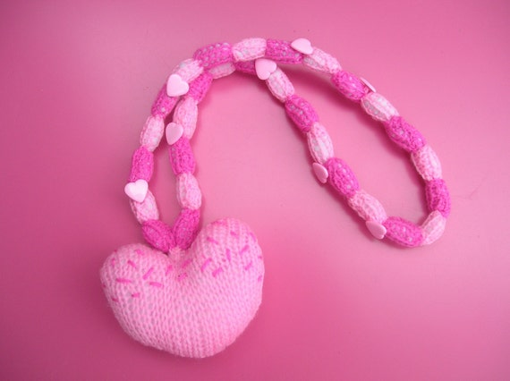 Knitted pink heart necklace SALE