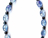 Sapphire Glass and Black Obsidian Necklace