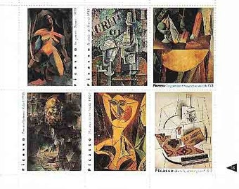6 Picasso Cubism Artist Stamps for Collage