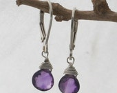 Amethyst Briolette and Sterling Silver Lever Back Earrings
