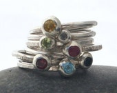 Gemstone Stacker Ring with 3mm Semi Precious Stone