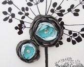 Handmade flower SET in gray and blues with fresh water pearls and Swarovski crystals.