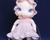 Crocheted dress and bonnet for Elfdoll Cherry Blossom baby Julia