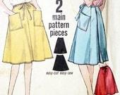 1960 Simplicity 4763 Vintage Wrap Around Skirt Jiffy Pattern Miss Waist 26 Hips 36 Modern size small