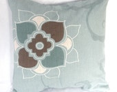 Retro Flower Cushion Cover  blue and brown  floral pattern 16 inch pillow