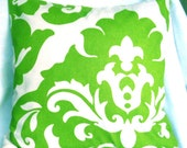 Green damask print pillow cover 16 inch cushion