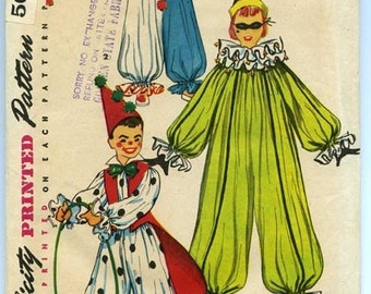 1950's SIMPLICITY 4864 Clown Costumes Size 10-12