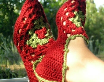 Babouches - PDF crochet pattern for granny square based slippers