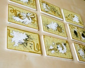 SALE Set of 9 handmade ACEO DIRTY YELLOW mounted on foamboard