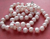 RESERVED FOR LISA - Hand Knotted Red Silk Pearl Necklace
