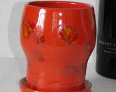Sunset Red Tudor Style Wine Goblet\/Glass