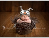 brown sleepy owl hat
