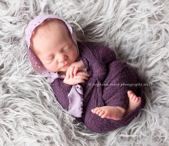 purple eyelet bonnet