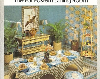 1970s Simplicity House 108 Far Eastern Dining Room Vintage Sewing Pattern Cushion, Lampshade, Table