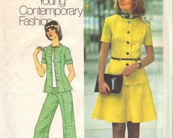 Simplicity 6791 Misses 70s Top, Skirt, Pants Vintage Sewing Pattern Size 12 Bust 34 Young Contemporary Fashion Two-Piece Dress