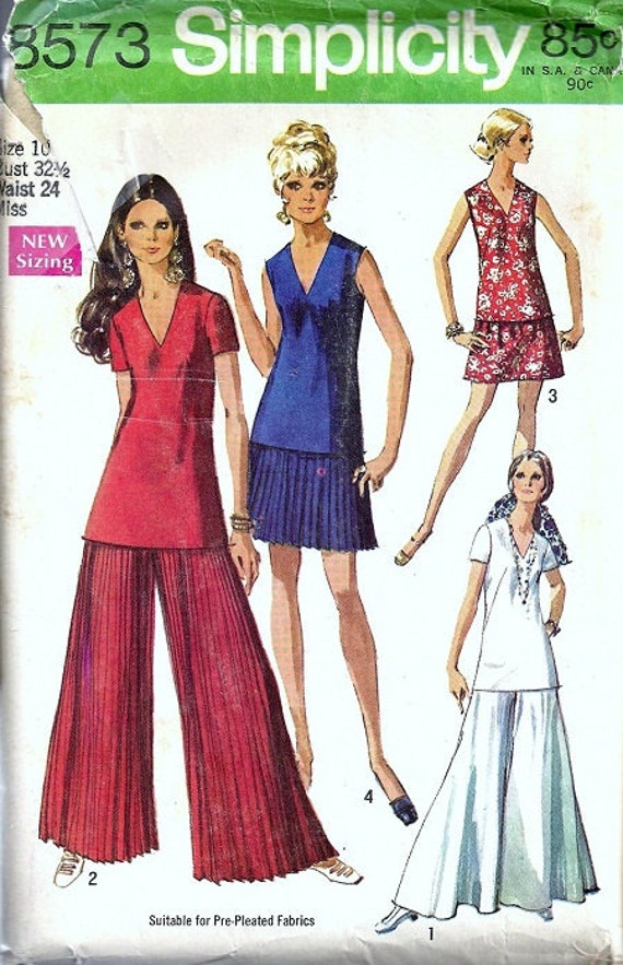 simplicity 8573 misses palazzo pants top skirt 60s sewing