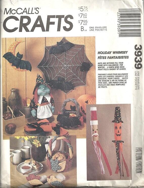 McCalls 3939 Halloween Bat, Witch, Spider Web Vintage Sewing Pattern