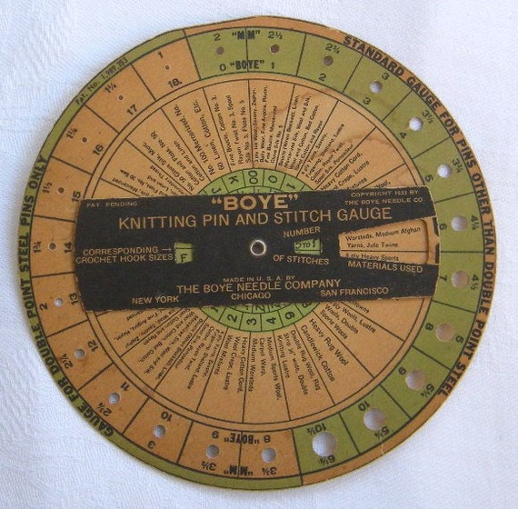 Knitting Needle Stitch Gauge : 1933 Boye Knitting Needle and Stitch Gauge Cardboard