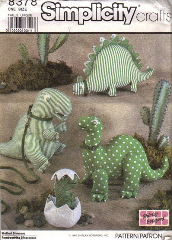 80s Shirley Botsford Stuffed Dinosaurs Sewing Pattern