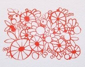 Floral fancy - gocco print in red