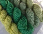 Handspun yarn, Masham wool, hand painted yarn, HILL FOLKS, double knit yarn, worsted weight yarn, 11.6oz/800yds