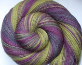 TUATHA DE DANNAN - ooak handpainted and handspun super fine merino/silk lace weight yarn, 700yds/3.7oz