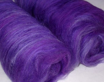 Finest merino silk batts, spinning fiber, nuno/wet/needle felting fiber, spinning batts, batting, purple, embellishing fiber, 3.5oz/100g