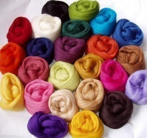 24 COLOURS - Super Soft Merino Wool Roving Mix, for handspinning and felting, 250g/9oz