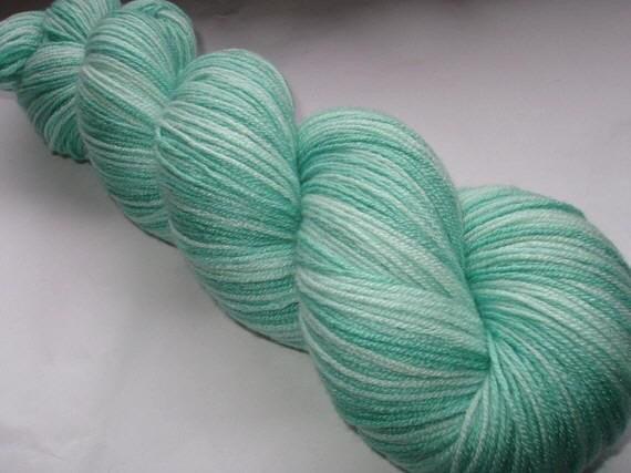 FRESH MINT - ultra soft handpainted merino/silk/nylon yarn, superwash, fingering weight, 400yds