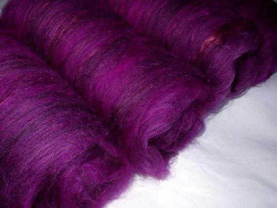 Extra fine drum carded merino wool/silk batts, for handspinning and felting, 7.8oz/222g
