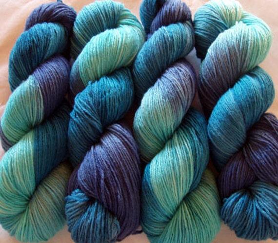 Merino Cashmere Yarn, 70/30, BLUE DIAMOND, super soft, hand painted, hand dyed yarn, fingering weight, 445yds