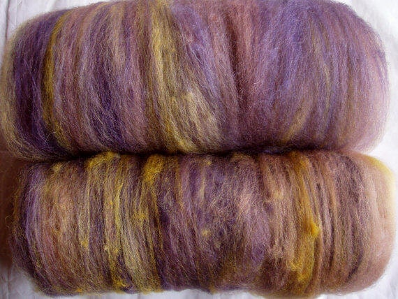 Handpainted and drum carded extra soft BFL wool batts, for handspinning and felting, 3.5oz/100g