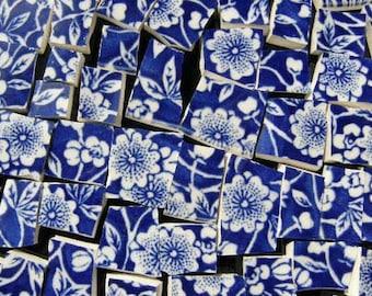 Cobalt Blue English Calico Chintz Mosaic Tiles Broken China Art Tile