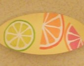 Fizzy Citrus Hand Painted Wooden Hair Barrette