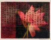Red Lotus 9x12 mixed media print