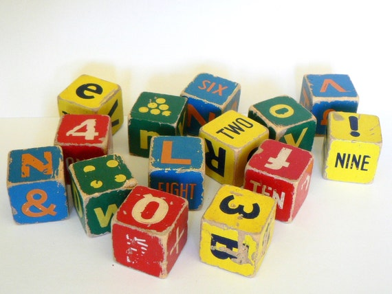 vintage wooden letter number toy stacking blocks by. Black Bedroom Furniture Sets. Home Design Ideas