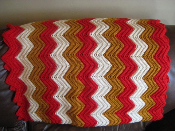 Vintage Chevron Knit AFGHAN Lap Throw BLANKET, Red Goldenrod White, Kitsch Crochet Granny