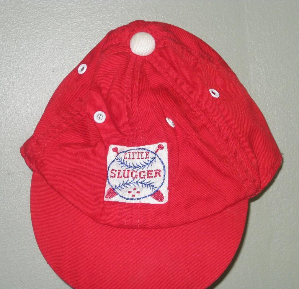 Vintage Red Little Slugger Baseball Cap Hat Toddler Boy 2 4t
