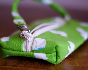 Zippered Pouch| Fabric Pouch | Hippos pouch | Wristlet | Lime zippered pouch | Camera case