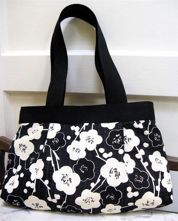 Audrey Handbag - Black and cream cherry blossoms