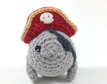Pirate Manatee, Handmade Amigurumi Toy