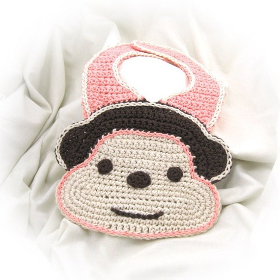Crochet Monkey Bib Pattern PDF