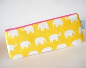 Planner Pouch - Pencil Case - Washi tape bag - Pencil (and) Pen zipper pouch--- Elephants on yellow