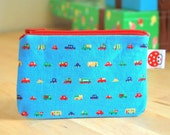 ON SALE - Small zipper pouch--- Tiny cars