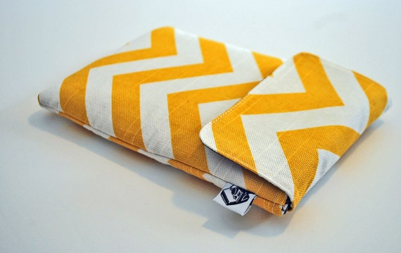 Kindle Case / Kindle Cover / Kindle Sleeve/ NEW Kindle fire- fits most Ereaders and Small Tablets--- Yellow chevron stripes