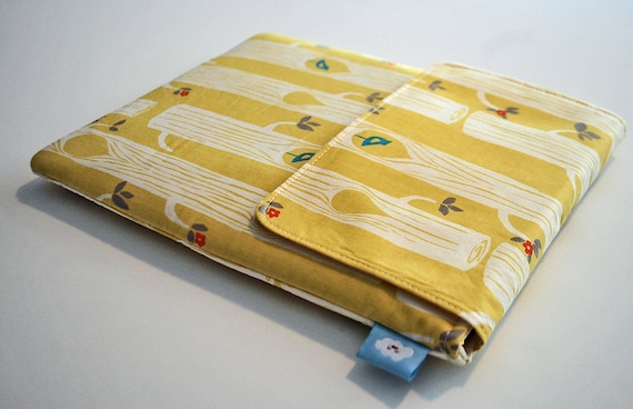 Ipad cover / Ipad sleeve / Ipad case / padded bag for tablets / net books--- Woodland on butter yellow